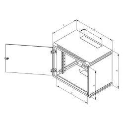 """Triton 19"""" rozvaděč jednodílný 18U/600mm, plechové, perforované dveře"""