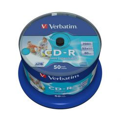 Verbatim Extra Protection CD-R Wide Printable, 700MB, no ID, 52x, 50ks, spindle