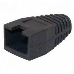 Krytka konektoru RJ45 na kulatý kabel, s výřezem,  1ks, černá