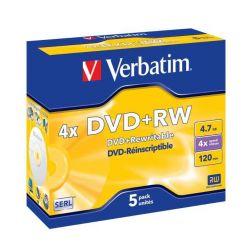 Verbatim DVD+RW Matt Silver, 4.7GB, 4x, 5ks, jewel case