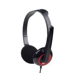 Gembird MHS-002, sluchátka s mikrofonem, ovládání hlasitosti, černo-červená