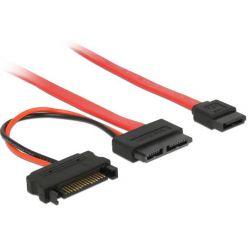 Delock kabel Slim SATA samice > SATA 7 pin + SATA 15 pin 5 V 30 cm