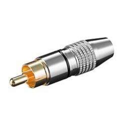 Konektor cinch(M) na kabel, černý pruh, zlacený