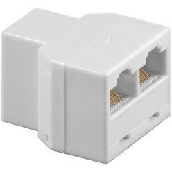 Telefonní rozdvojka (cat.3) RJ45 8P8C (3xF), bílá