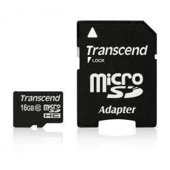 Transcend 16GB microSDHC karta, Class 10 + adaptér