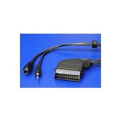 Kabel Scart(M) -> S-video(M) / jack3.5mm M, 15m