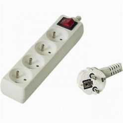 Prodlužovací přívod 230V, 3m, 4 zásuvky + vypínač