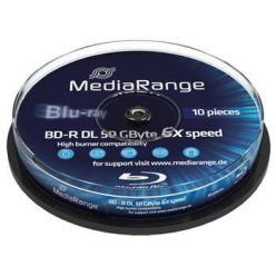 MediaRange BD-R DL disky, 50GB, 6x, printable, 10ks, spindl