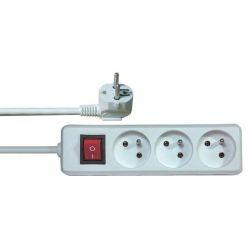 Prodlužovací přívod 230V, 3m, 3 zásuvky s vypínačem