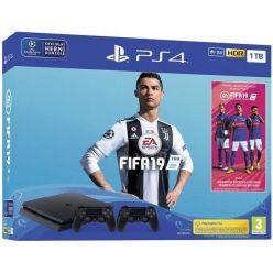 Sony PlayStation 4 1TB černý + hra FIFA 19 + druhý DualShock 4