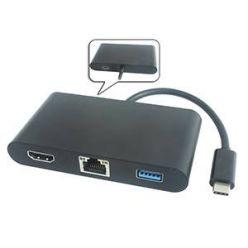PremiumCord převodník USB-C na HDMI + Audio + USB3.0 + RJ45