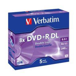 Verbatim DVD+R DL Matt Silver, 8.5GB, 8x, 5ks, jewel case