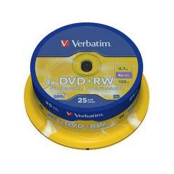 Verbatim DVD+RW Matt Silver, 4.7GB, 4x, 25ks, spindle