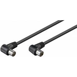 Goobay anténní kabel, 75 Ohm, PAL, M-F, 2.5m, lomený na obou koncích, černý