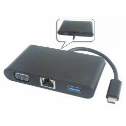 PremiumCord převodník USB-C -> D-Sub + Audio + USB3.0 + RJ45