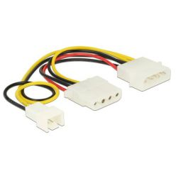 Delock Power Cable 4 pin male > 1 x 4 pin female + 1 x 3 pin male (fan) 14 cm