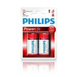 Philips baterie C PowerLife, alkalická - 2ks