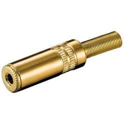 Konektor stereo jack 3.5mm female na kabel, zlacený