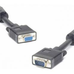 PremiumCord prodlužovací VGA kabel s ferity, 2m, černý