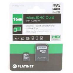 Platinet 16GB microSDHC karta, Class 10 + adaptér