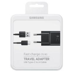 Samsung EP-TA20EBE, USB nabíječka s USB-C kabelem, černá, retail