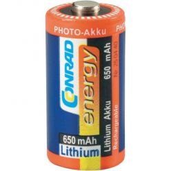 Conrad Energy CR123, lithiová nabíjecí baterie, 3V, 650mAh